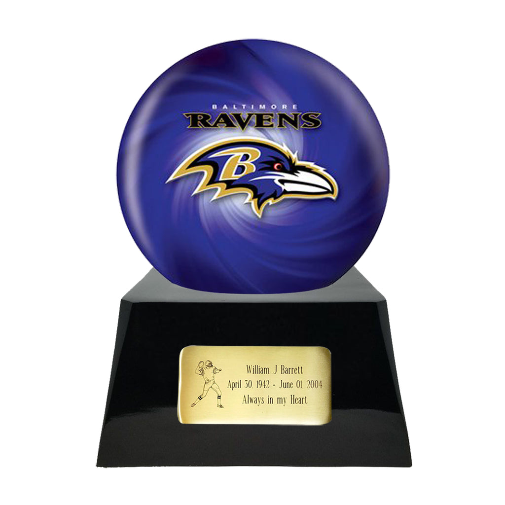 Football Cremation Urn with Optional Baltimore Ravens Ball Decor and Custom Metal Plaque, Sports Urn - Divinity Urns