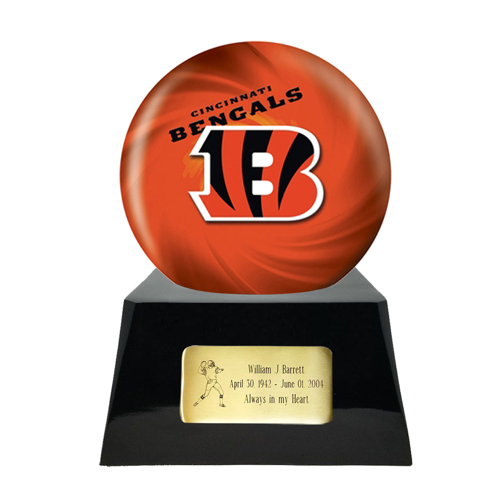 Football Cremation Urn with Optional Cincinnati Bengals Ball Decor and Custom Metal Plaque, Sports Urn - Divinity Urns