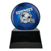 Image of Football Cremation Urn with Optional Dallas Cowboys Ball Decor and Custom Metal Plaque, Sports Urn - Divinity Urns.