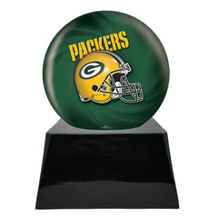 Football Cremation Urn with Optional Greenbay Packers Ball Decor and Custom Metal Plaque