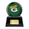 Image of Football Cremation Urn with Optional Greenbay Packers Ball Decor and Custom Metal Plaque, Sports Urn - Divinity Urns