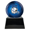 Image of Football Cremation Urn with Optional Indianapolis Colts Ball Decor and Custom Metal Plaque, Sports Urn - Divinity Urns.
