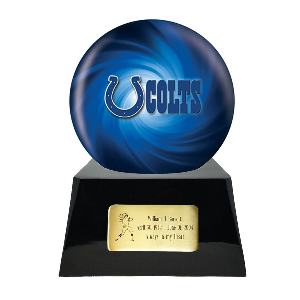 Football Cremation Urn with Optional Indianapolis Colts Ball Decor and Custom Metal Plaque, Sports Urn - Divinity Urns.