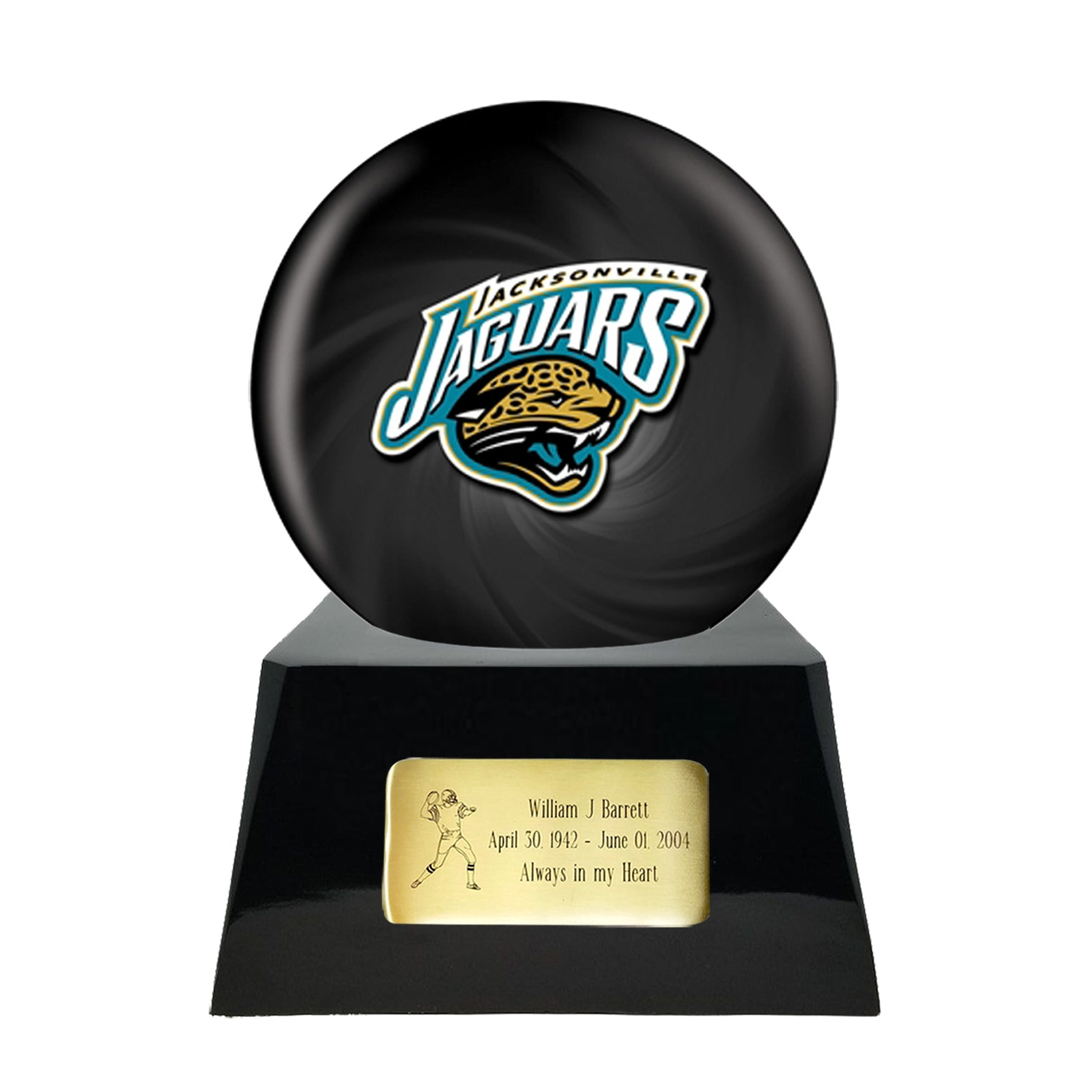Football Cremation Urn and Jacksonville Jaguars Ball Decor with Custom Metal Plaque, Sports Urn - Divinity Urns