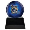 Image of Football Cremation Urn with Optional Los Angeles Rams Ball Decor and Custom Metal Plaque, Sports Urn - Divinity Urns