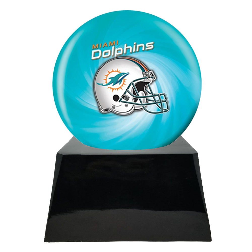 Football Cremation Urn and Miami Dolphins Ball Decor with Custom Metal Plaque