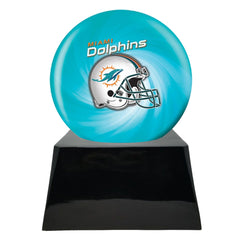 Football Cremation Urn with Optional Miami Dolphins Ball Decor and Custom Metal Plaque