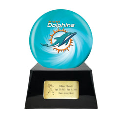 Football Cremation Urn with Optional Miami Dolphins Ball Decor and Custom Metal Plaque, Sports Urn - Divinity Urns