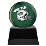 Football Cremation Urn with Optional New York Jets Ball Decor and Custom Metal Plaque, Sports Urn - Divinity Urns