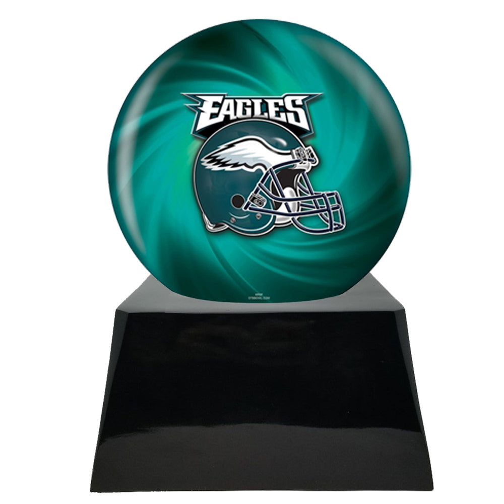 Football Cremation Urn and Philadelphia Eagles Ball Decor with Custom Metal Plaque