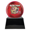 Image of Football Cremation Urn with Optional San Francisco 49ers Ball Decor and Custom Metal Plaque, Sports Urn - Divinity Urns.