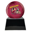 Image of Football Cremation Urn with Optional Washington Redskins Ball Decor and Custom Metal Plaque, Sports Urn - Divinity Urns