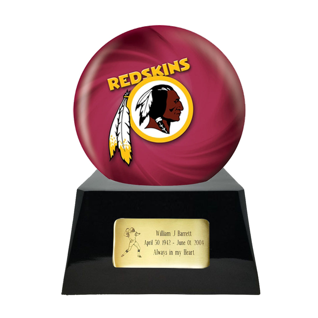 Football Cremation Urn with Optional Washington Redskins Ball Decor and Custom Metal Plaque, Sports Urn - Divinity Urns