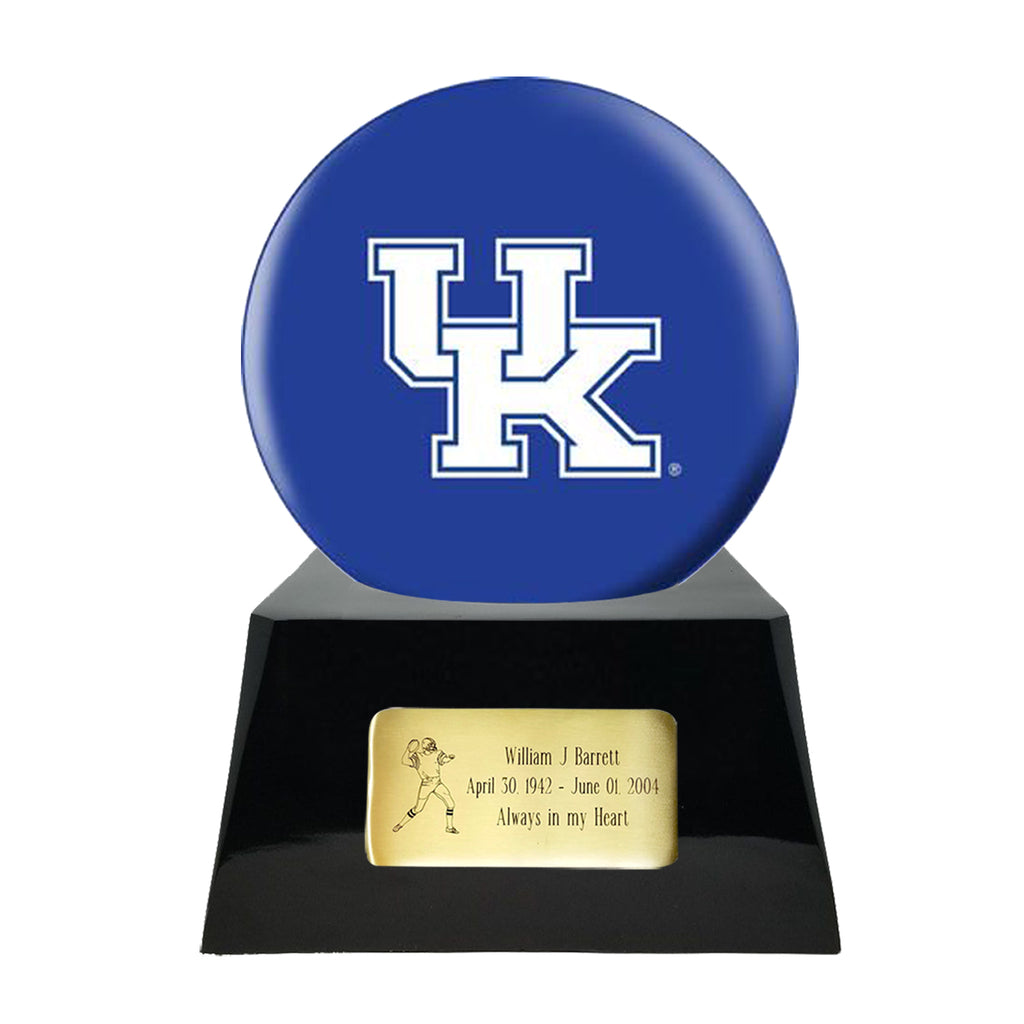 Football Cremation Urn with Optional Kentucky Wildcats Ball Decor and Custom Metal Plaque, Football Team Urns - Divinity Urns.