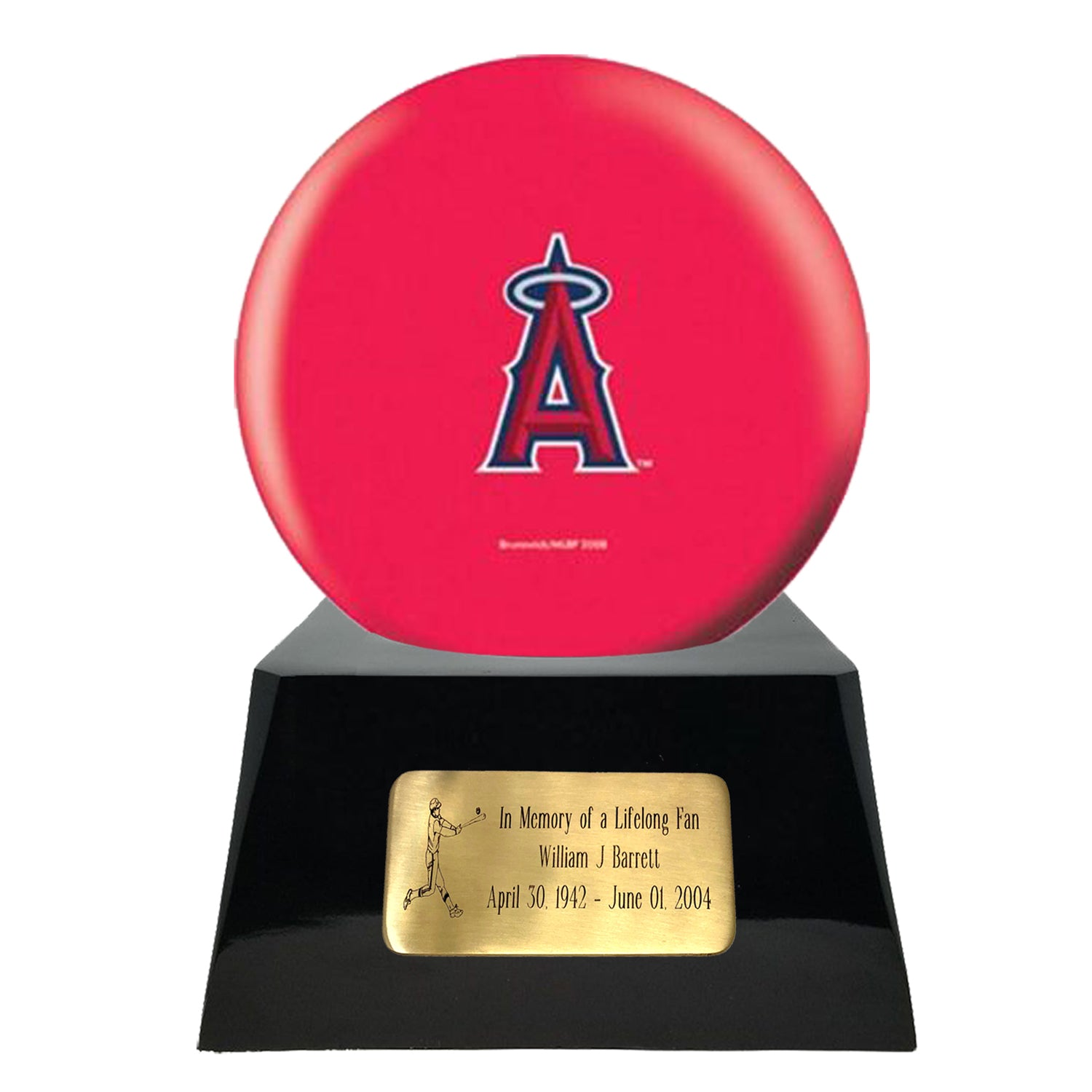 Baseball Cremation Urn with Optional Los Angeles Angels Of Anaheim Ball Decor and Custom Metal Plaque, Sports Urn - Divinity Urns