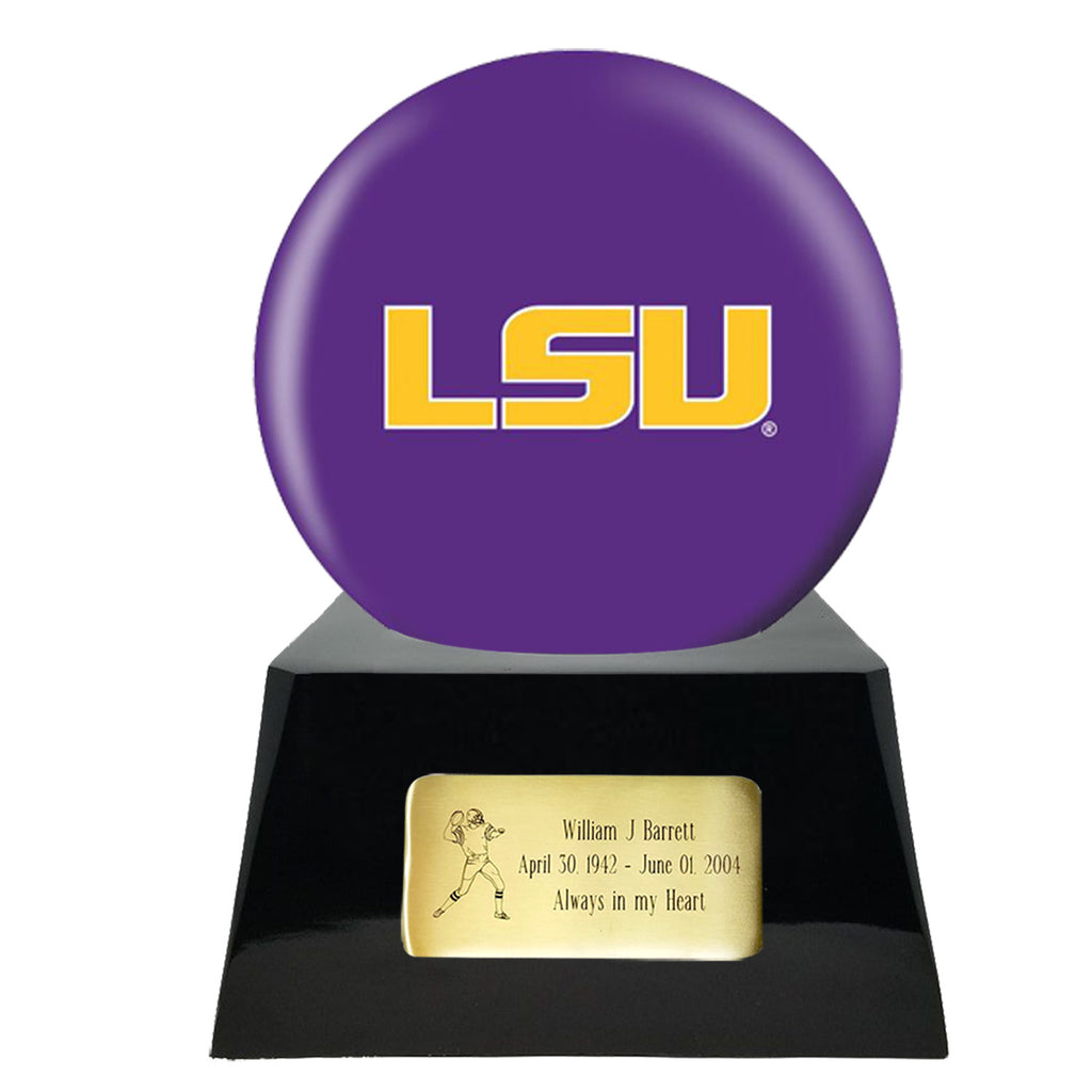 Football Cremation Urn with Optional LSU Tigers Ball Decor and Custom Metal Plaque, Football Team Urns - Divinity Urns.