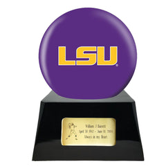 Football Cremation Urn and LSU Tigers Ball Decor with Custom Metal Plaque, Football Team Urns - Divinity Urns
