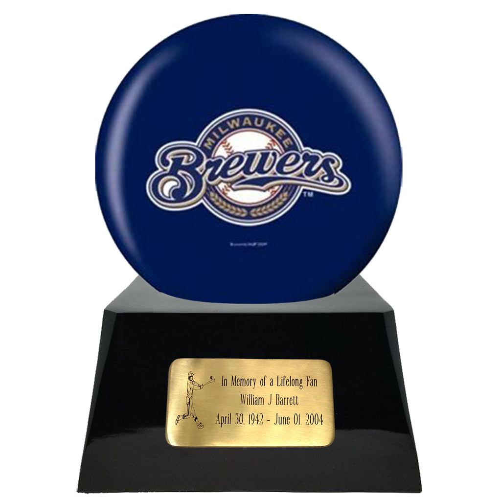 Baseball Cremation Urn with Optional Milwaukee Brewers Ball Decor and Custom Metal Plaque, Baseball - Divinity Urns.
