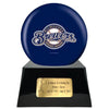 Image of Baseball Cremation Urn with Optional Milwaukee Brewers Ball Decor and Custom Metal Plaque, Baseball - Divinity Urns.