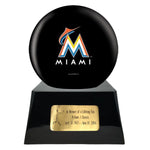Baseball Cremation Urn with Optional Miami Marlins Ball Decor and Custom Metal Plaque, Sports Urn - Divinity Urns