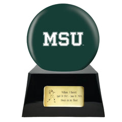 Football Cremation Urn with Optional Michigan State Spartans Ball Decor and Custom Metal Plaque, Football Team Urns - Divinity Urns