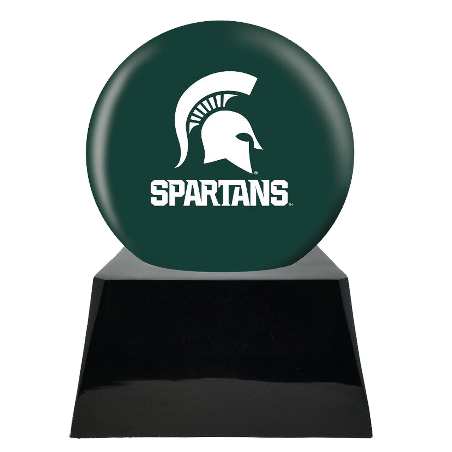 Football Cremation Urn with Optional Michigan State Spartans Ball Decor and Custom Metal Plaque