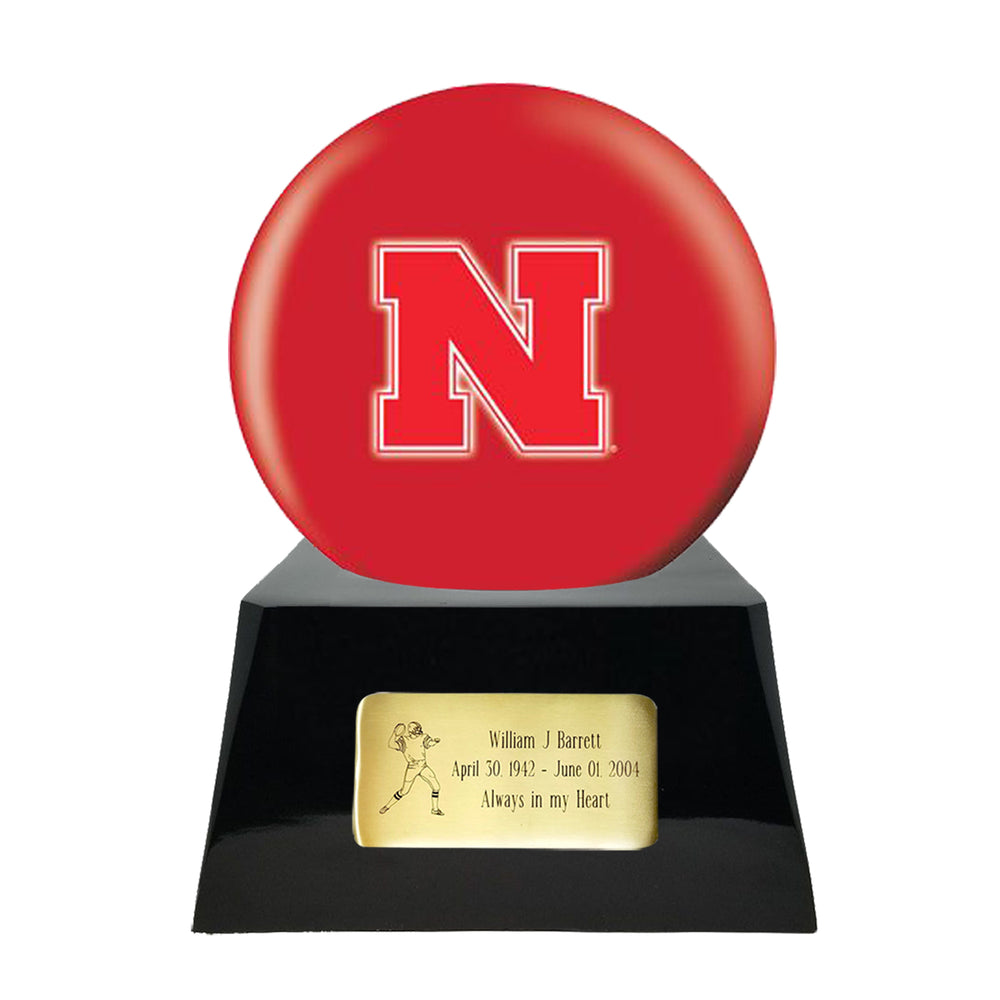 Football Cremation Urn and Nebraska Cornhuskers Ball Decor with Custom Metal Plaque