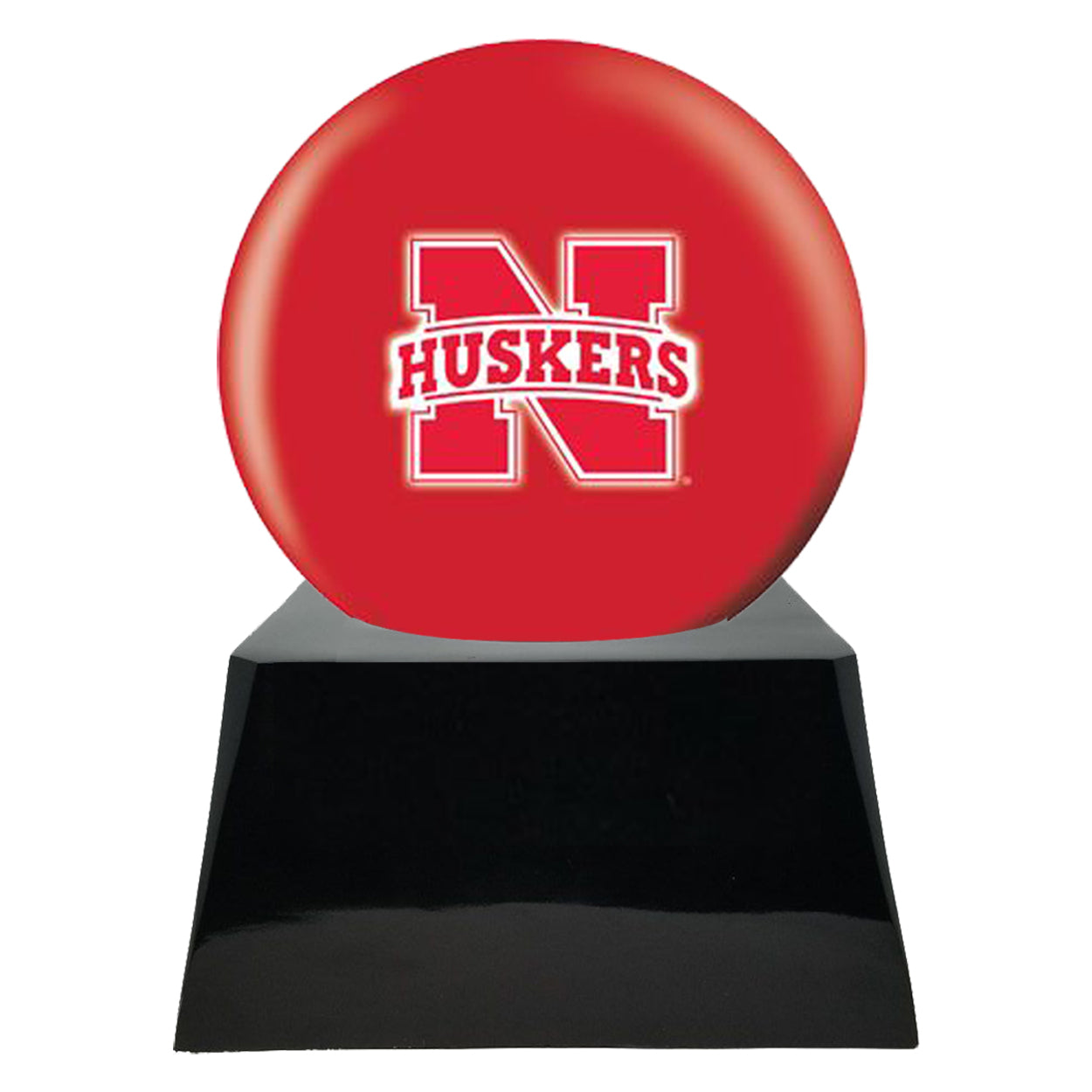 Football Cremation Urn with Optional Nebraska Cornhuskers Ball Decor and Custom Metal Plaque, Football Team Urns - Divinity Urns