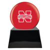 Image of Football Cremation Urn with Optional Nebraska Cornhuskers Ball Decor and Custom Metal Plaque, Football Team Urns - Divinity Urns