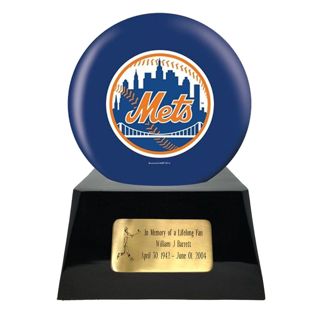 Baseball Cremation Urn and New York Mets Ball Decor with Custom Metal Plaque