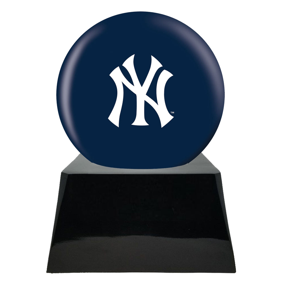 Baseball Cremation Urn and New York Yankees Ball Decor with Custom Metal Plaque