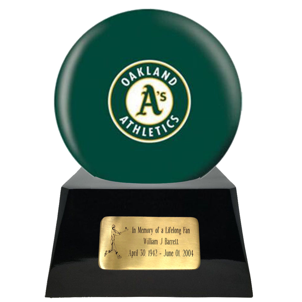 Baseball Cremation Urn and Oakland Athletics Ball Decor with Custom Metal Plaque