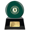 Image of Baseball Cremation Urn with Optional Oakland Athletics Ball Decor and Custom Metal Plaque, Baseball - Divinity Urns.