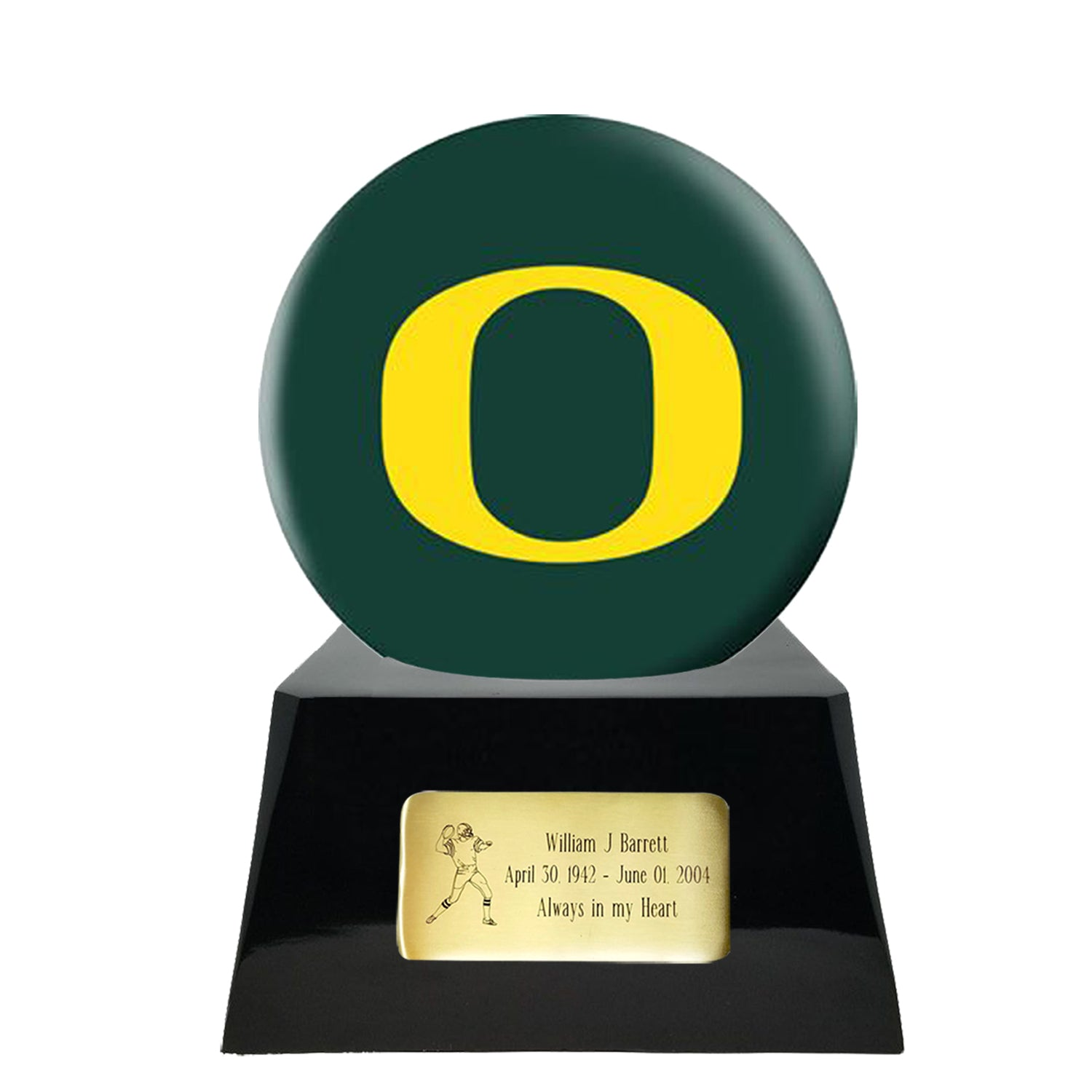 Football Cremation Urn and Oregon Ducks Ball Decor with Custom Metal Plaque, Football Team Urns - Divinity Urns