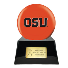 Football Cremation Urn with Optional Oregon State Beavers Ball Decor and Custom Metal Plaque, Football Team Urns - Divinity Urns.