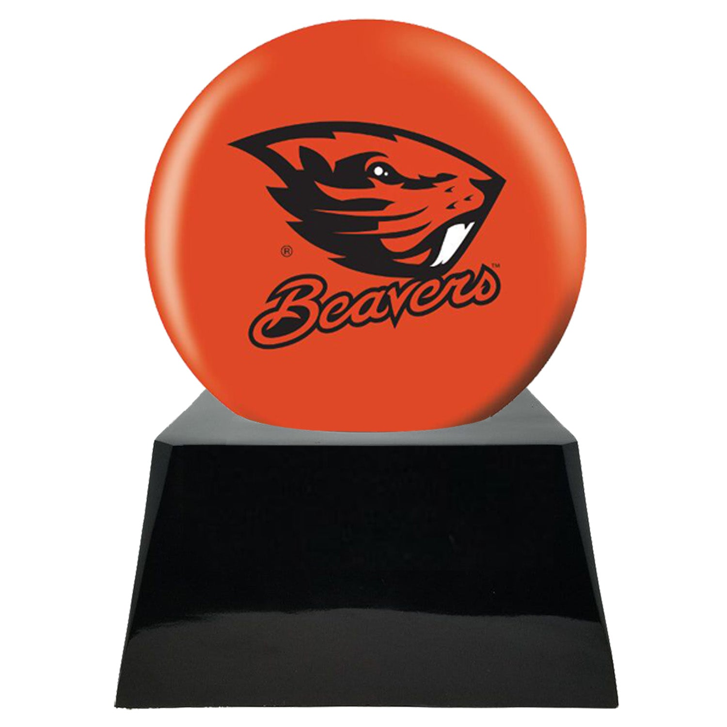 Football Cremation Urn with Optional Oregon State Beavers Ball Decor and Custom Metal Plaque, Football Team Urns - Divinity Urns