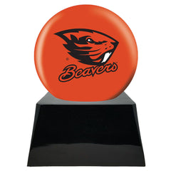 Football Cremation Urn with Optional Oregon State Beavers Ball Decor and Custom Metal Plaque