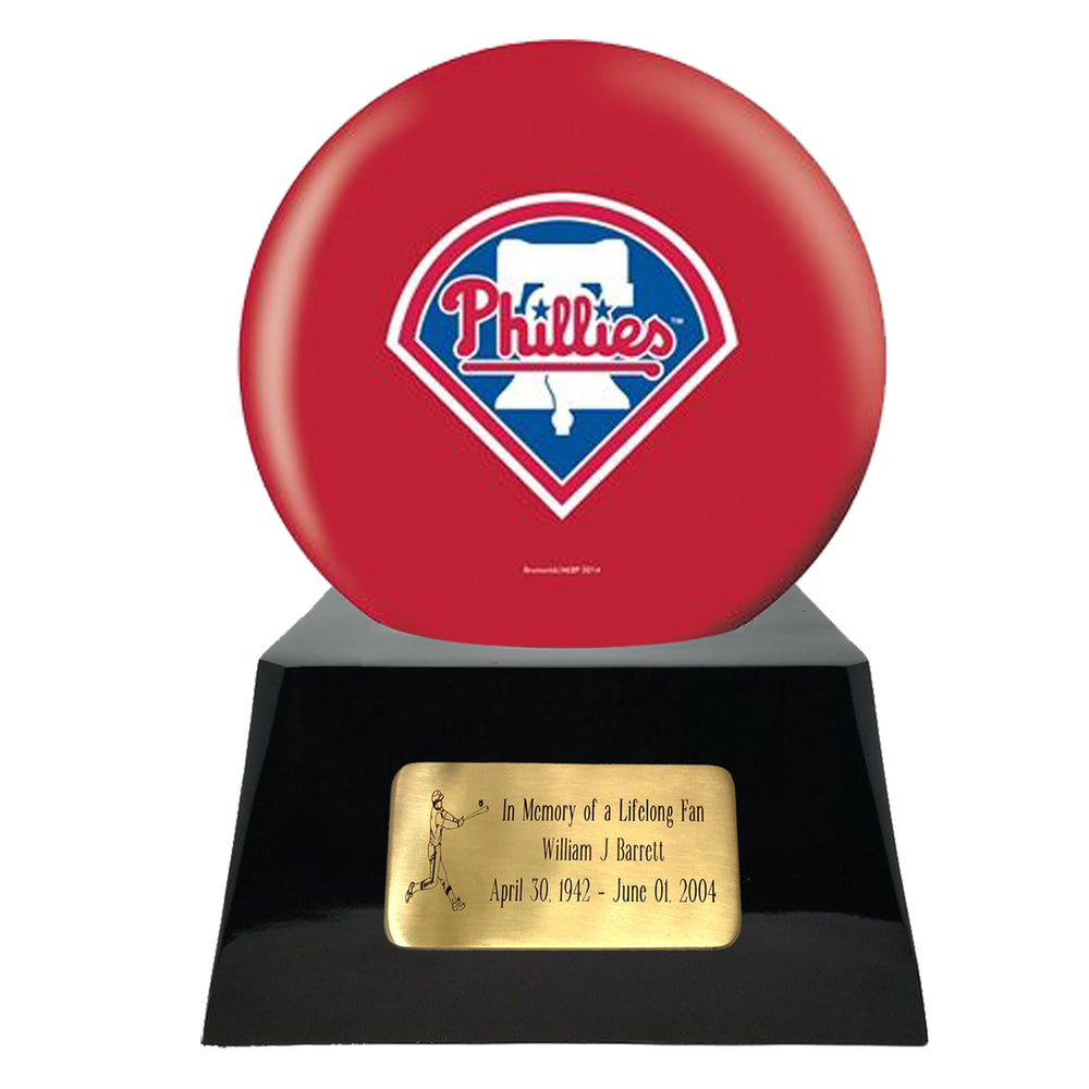 Baseball Cremation Urn and Philadelphia Phillies Ball Decor with Custom Metal Plaque