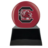 Football Cremation Urn and South Carolina Gamecocks Ball Decor with Custom Metal Plaque