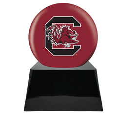 Football Cremation Urn with Optional South Carolina Gamecocks Ball Decor and Custom Metal Plaque