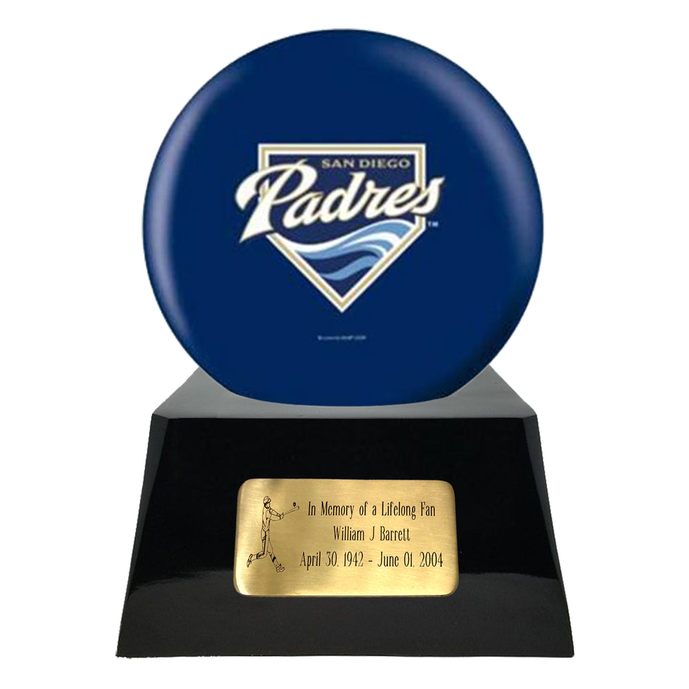 Baseball Cremation Urn and San Diego Padres Ball Decor with Custom Metal Plaque
