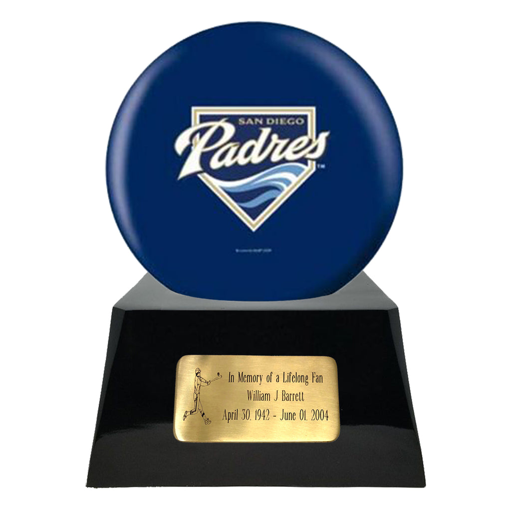 Baseball Cremation Urn with Optional San Diego Padres Ball Decor and Custom Metal Plaque, Sports Urn - Divinity Urns