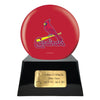 Image of Baseball Cremation Urn with Optional St Louis Cardinals Ball Decor and Custom Metal Plaque, Baseball - Divinity Urns.