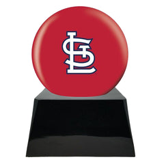 Baseball Cremation Urn with Optional St Louis Cardinals Ball Decor and Custom Metal Plaque
