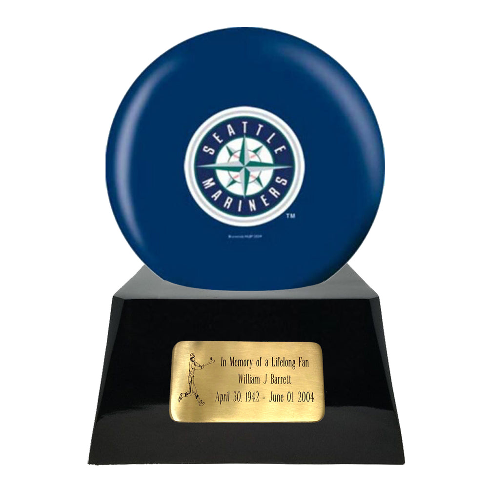 Baseball Cremation Urn and Seattle Mariners Ball Decor with Custom Metal Plaque