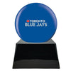 Image of Baseball Cremation Urn with Optional Toronto Blue Jays Ball Decor and Custom Metal Plaque, Baseball - Divinity Urns.