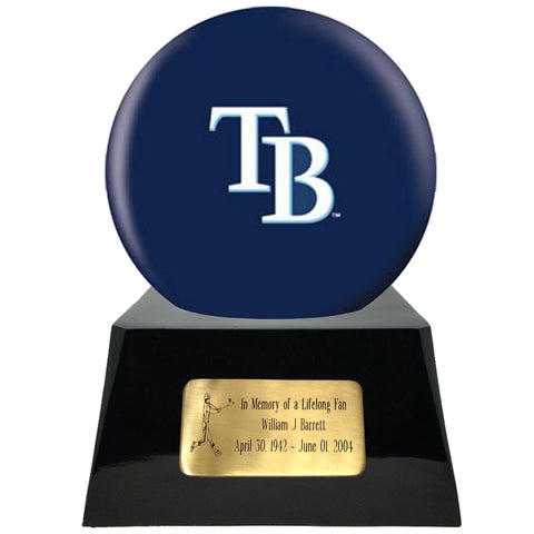 Baseball Cremation Urn with Optional Tampa Bay Rays Ball Decor and Custom Metal Plaque, Baseball - Divinity Urns.