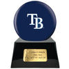 Image of Baseball Cremation Urn with Optional Tampa Bay Rays Ball Decor and Custom Metal Plaque, Sports Urn - Divinity Urns