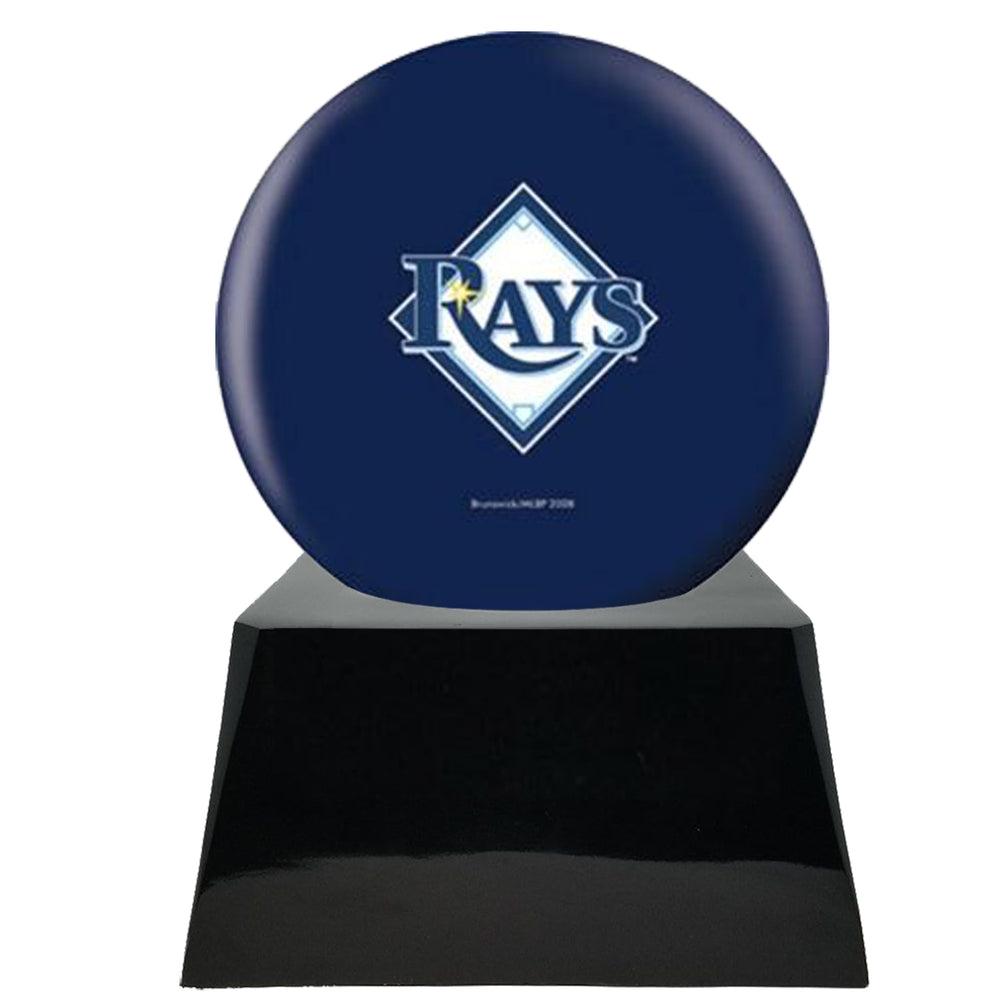 Baseball Cremation Urn and Tampa Bay Rays Ball Decor with Custom Metal Plaque