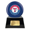 Image of Baseball Cremation Urn with Optional Texas Rangers Ball Decor and Custom Metal Plaque, Baseball - Divinity Urns.